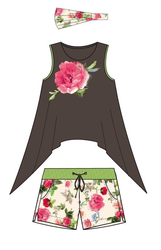 Комплект: майка, шорты для дев. 11470