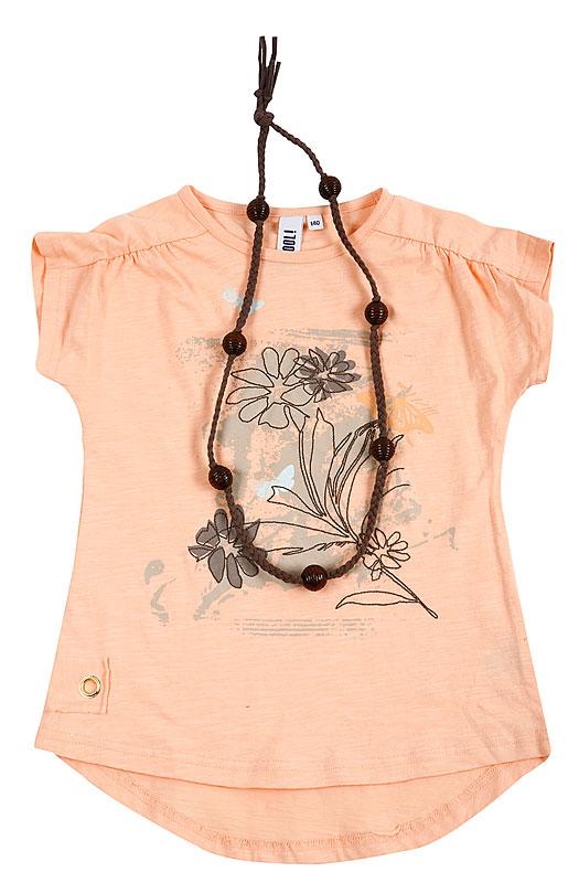 Комплект: футболка, бусы для дев. 20409