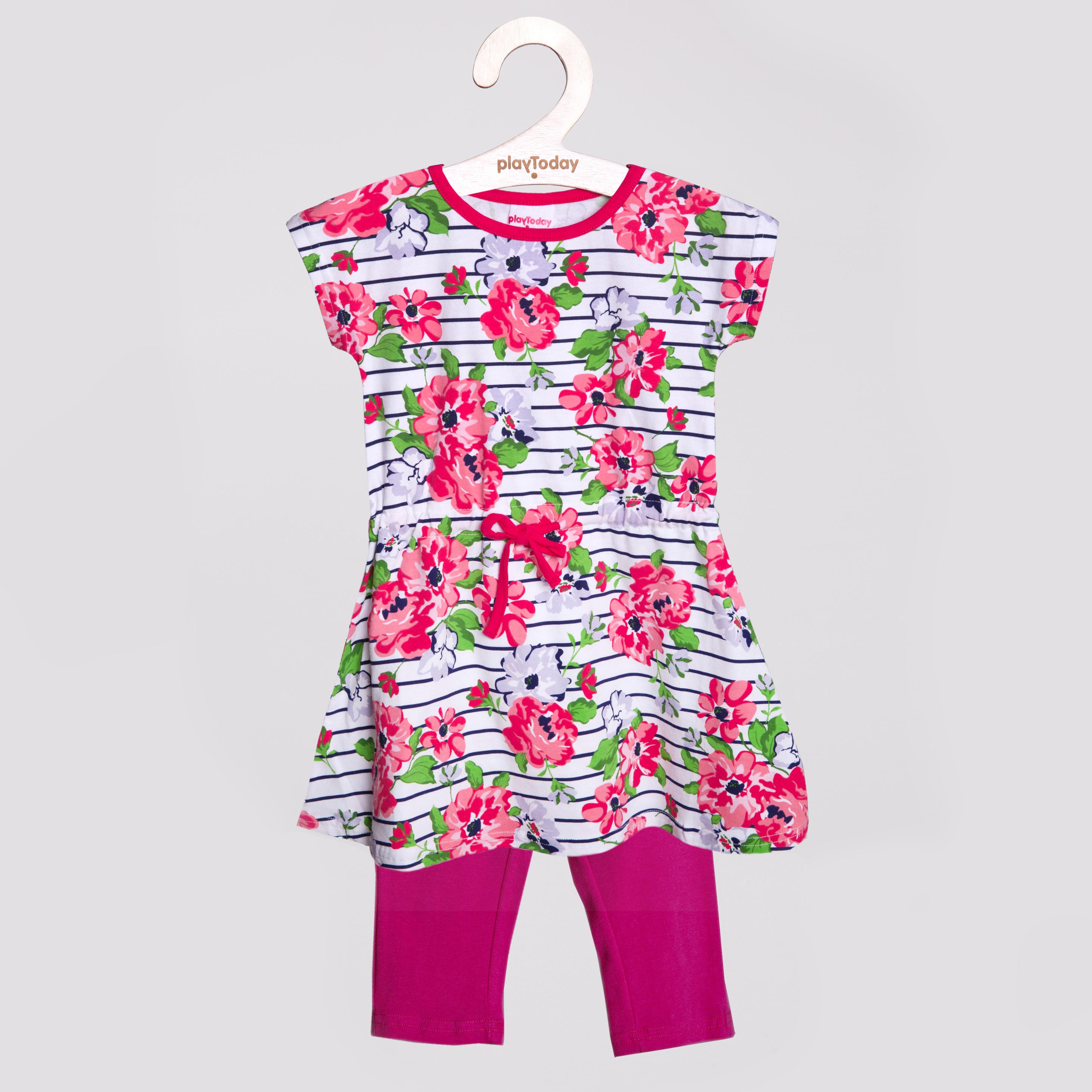 Комплект трикотажный для девочек: платье, бриджи 252017