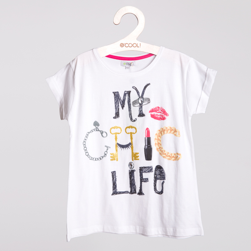 Фуфайка трикотажная для девочек (футболка) 254006