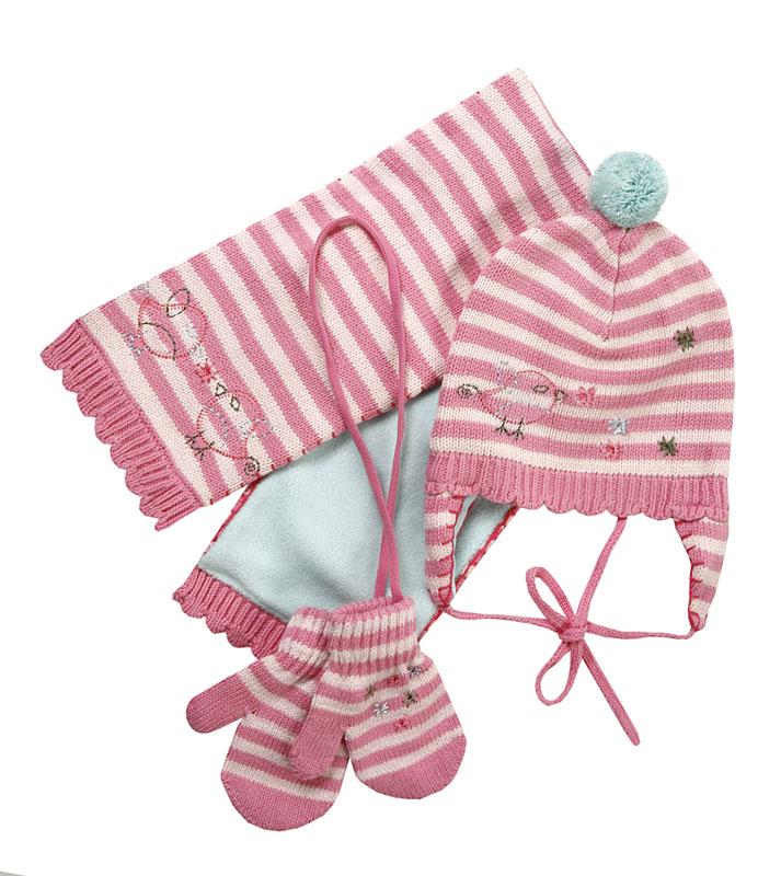 Комплект: шапка, шарф, варежки для дев. 308027