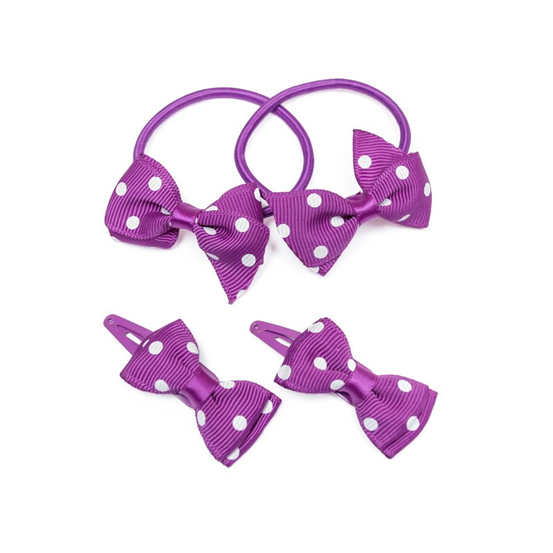 Комплект аксессуаров для волос для девочек: заколки - 2 шт., резинка (фиолетовый) 332174