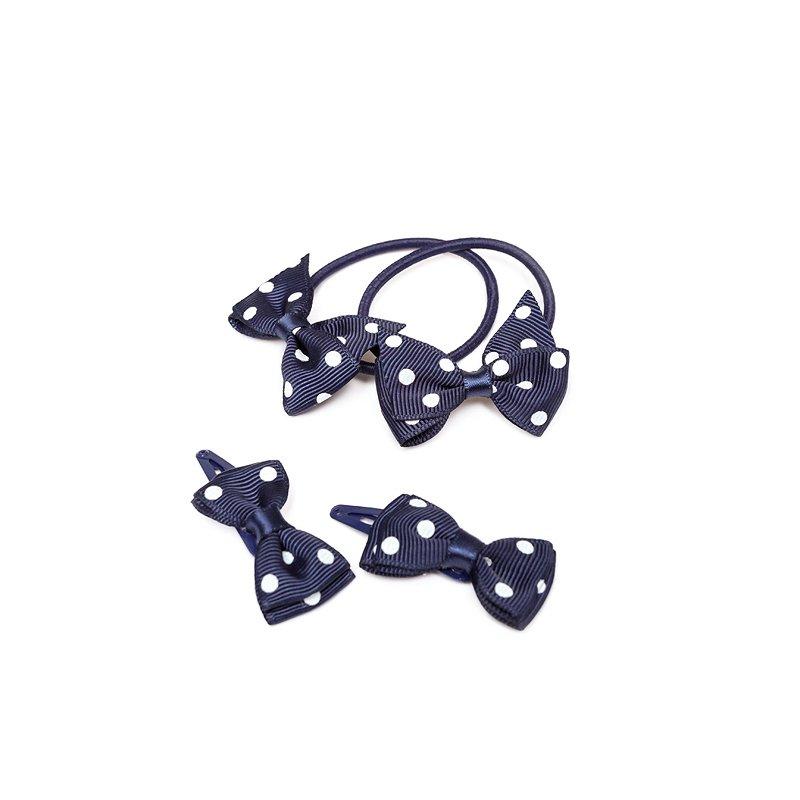 Комплект аксессуаров для волос для девочек: заколки - 2 шт., резинка (тёмно-синий) 332176