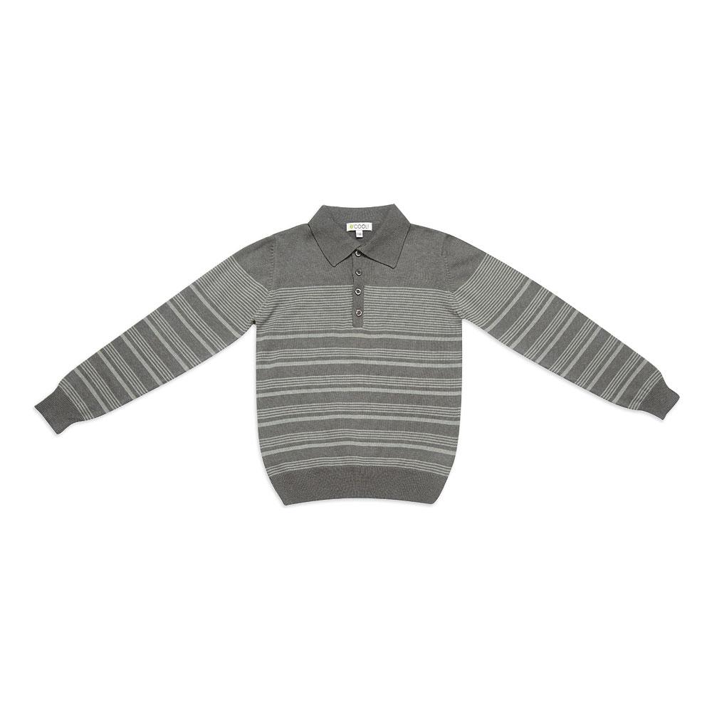 Джемпер-поло  серый в полоску 343013