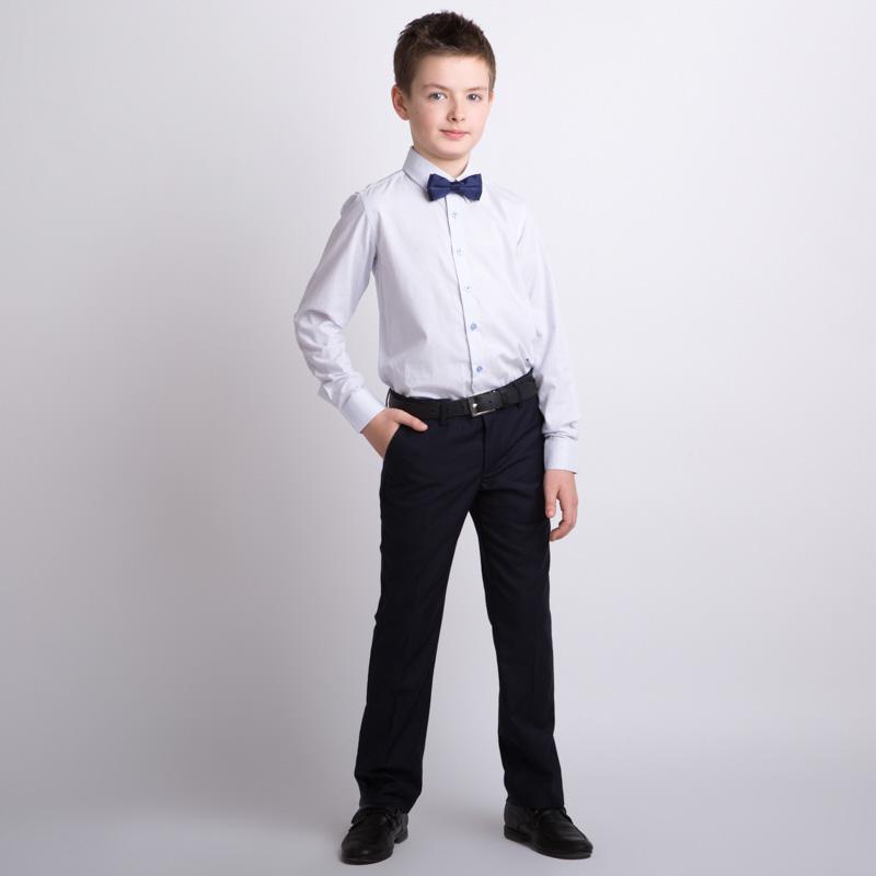 Сорочка текстильная для мальчиков (бледно-голубая в узкую полоску) 353012