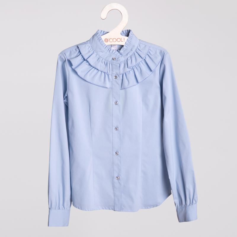 Блузка текстильная для девочек  голубая 354008