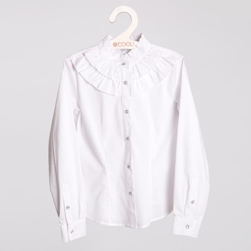 Блузка текстильная для девочек  белая 354083