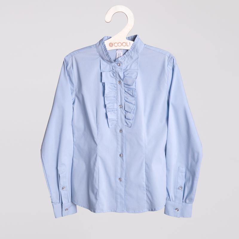 Блузка текстильная для девочек  голубая 354084
