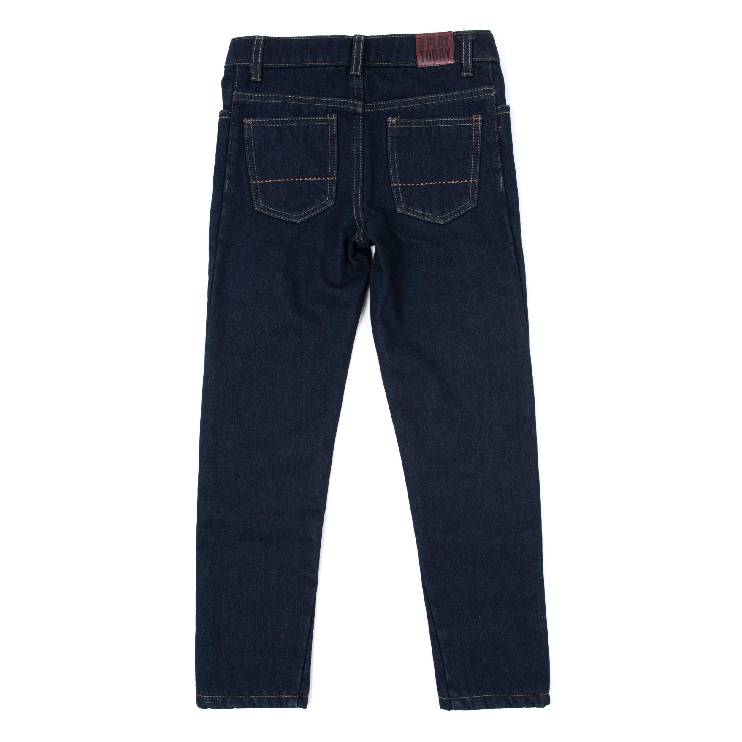 b886d9a0 381159 Темно-синие брюки джинсовые на флисе для мальчика PlayToday ...