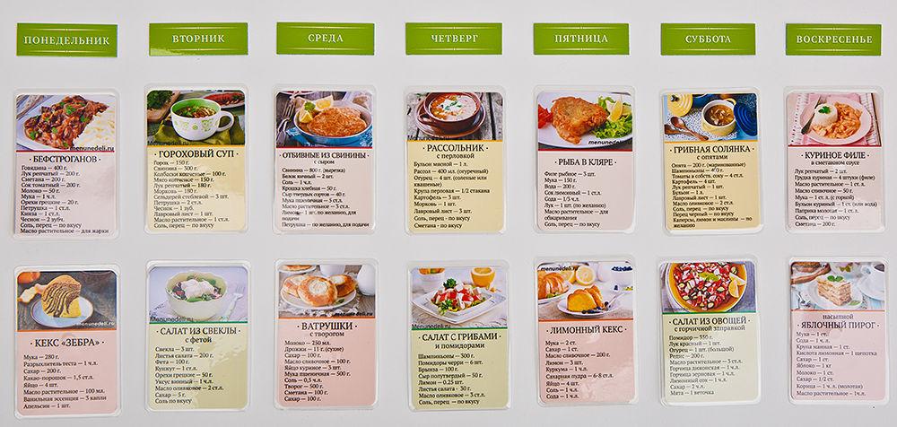 Рецепты меню на каждую неделю